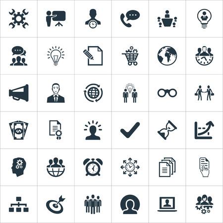 Illustrazione vettoriale Set di icone di strategia semplice. Elementi Progress, Call, Think e altri sinonimi Computer portatile, clienti e personale. Vettoriali