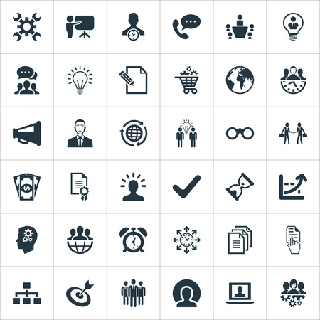 Ilustração vetorial conjunto de ícones de estratégia simples. Elements Progress, Call, Think And Other Sinônimos, laptop, cliente e funcionários. Ilustración de vector