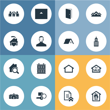 Vector Illustration Set Of Simple Estate Icons. Elements Trade, Cottage, Building And Other Synonyms Roof, Service And Key.