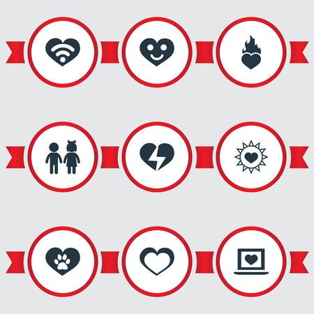 Vector illustratie Set van eenvoudige Valentine pictogrammen. Elements Sun, Vetirinary, Heart And Other Synoniemen Zon, meisje en verbranding.