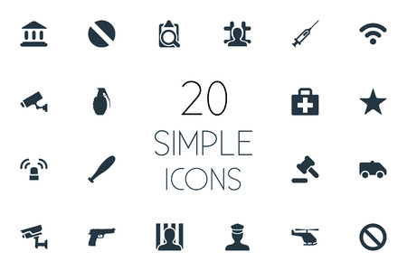 Vector Illustration Set Of Simple Offense Icons. Elements Narcotic, Vaccine, File And Other Synonyms Document, Court And Ban.