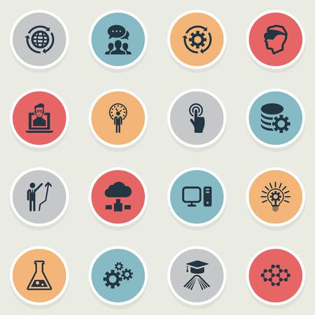 Vectorillustratiereeks Eenvoudige Innovatiepictogrammen. Elementen PC, server, onderwijs en andere synoniemenmoleculen, engineering en processen. Stock Illustratie
