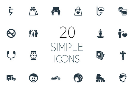 Vector Illustration Set Of Simple Health Icons. Elements Shopping Bag, Diver Equipment, Cigarette Forbidden And Other Synonyms Tablet, Clock And Watch.
