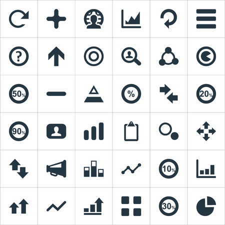 Vector illustratie Set van eenvoudige statistiek iconen. Elements Cube, Ten, Upward And Other Synoniemen Circle, Positive and Negative. Stock Illustratie