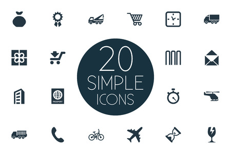 Vector Illustration Set Of Simple Carting Icons. Elements Watch, Cargo Truck, Velocipede And Other Synonyms Truck, Holdall And Timer.