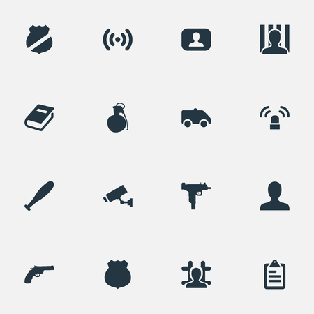 Vector Illustration Set Of Simple Offense Icons. Elements Identification, Gun, Checklist And Other Synonyms Notepad, Baseball And Human. Illusztráció