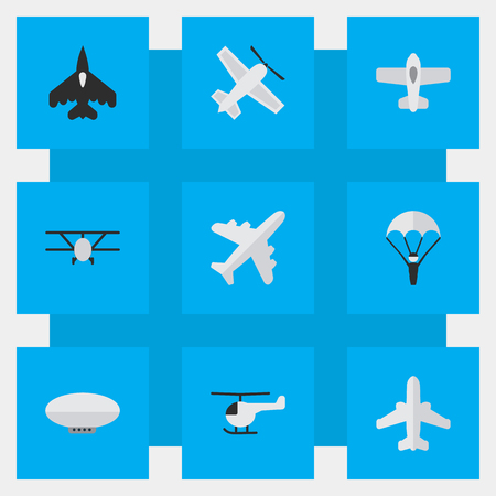 Vector Illustration Set Of Simple Aircraft Icons. Elements Flying Vehicle, Craft, Copter And Other Synonyms Helicopter, Craft And Aviation.