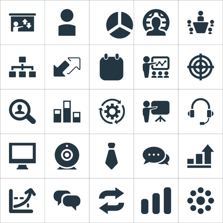 Vector Illustration Set Of Simple Seminar Icons. Elements Waiting, Increase, Necktie And Other Synonyms Statistics, Talk And Career.