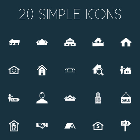 Vector Illustration Set Of Simple Property Icons. Elements Smiley Casa, Operator, Structure And Other Synonyms Retail, Sign And Midtown. 向量圖像