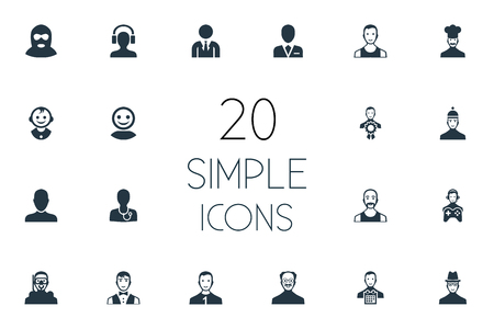 Vector Illustration Set Of Simple Avatar Icons. Elements Servant, Sportsman, Male With Headphone And Other Synonyms Doctor, Sportsman And Champion. Фото со стока - 84982934