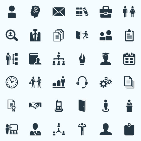 Vector Illustration Set Of Simple Hr Icons. Elements Cogwheel, Friendship, Identification Card And Other Synonyms Vitae, Business And Telephone.