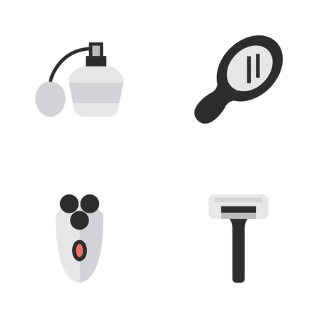 Vector Illustration Set Of Simple Barber Icons. Elements Perfume, Shaving Machine, Glass And Other Synonyms Razor, Machine And Glass. Illustration