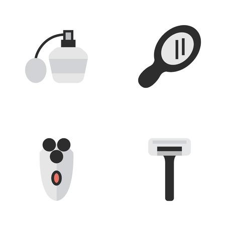 Vectorillustratiereeks Eenvoudige Kapperpictogrammen. Elementen Parfum, scheren Machine, glas en andere synoniemen Razor, Machine en glas.
