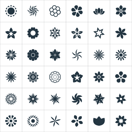 Vector Illustration Set Of Simple  Icons. Elements Aloha, Cypress, Marigold And Other Synonyms Bloom, Fuji And Elite.