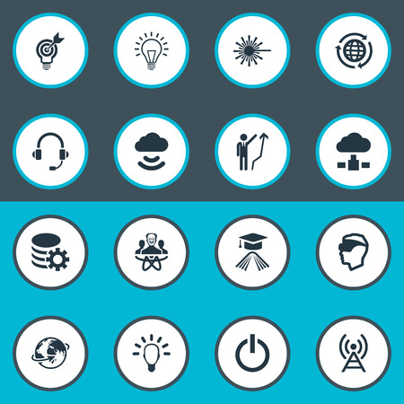 Vector Illustration Set Of Simple Creativity Icons. Elements Education, Gear, Physicist And Other Synonyms Member, Storage And Profile.