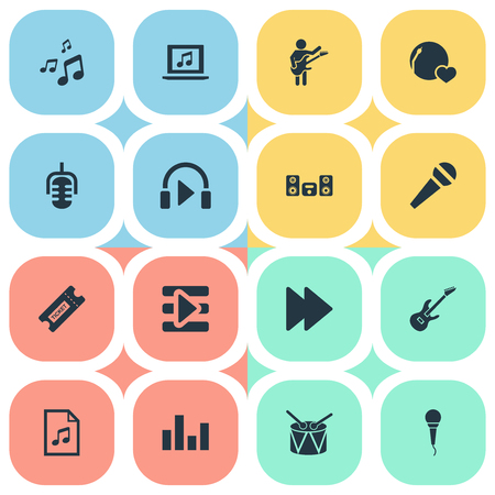 Vector Illustration Set Of Simple Music Icons. Elements Listen, Notes, Karaoke And Other Synonyms Musical, Instrument And Notes.