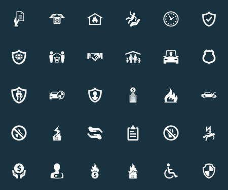 Vector Illustration Set Of Simple Fuse Icons. Elements Advocacy, Agreement, Protection And Other Synonyms Strongbox, Roof And Diamond. Ilustração