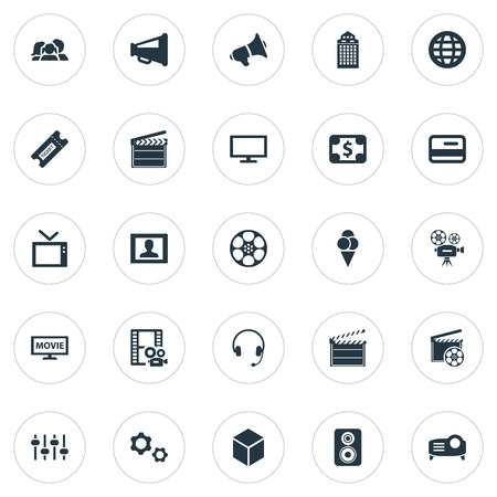 Vector Illustration Set Of Simple Cinema Icons. Elements Bullhorn, Film, Member Access And Other Synonyms Orator, Review And Presentation. Illustration