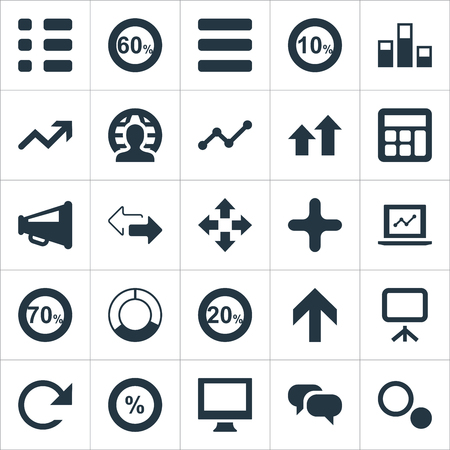 Vector Illustration Set Of Simple Statistic Icons. Elements Menu, Stand, Ten Synonyms Laptop, Calculator And Megaphone. Çizim