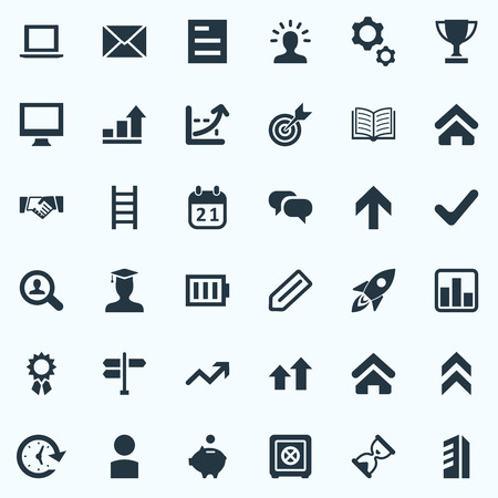 Vector Illustration Set Of Simple Teamwork Icons. Elements Arrow Up, Analytics, Line Graph And Other Synonyms Diagran, Label And Stairway.