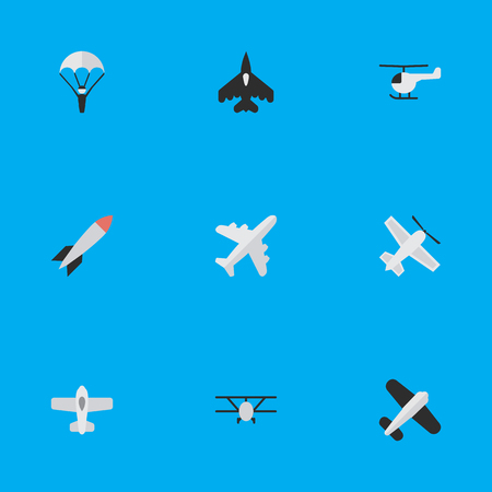 Vector Illustration Set Of Simple Aircraft Icons. Elements Plane, Catapults, Bomb And Other Synonyms Airplane, Vehicle And Aviation.