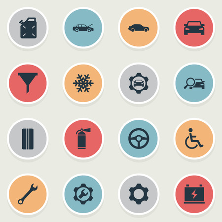 Vector Illustration Set Of Simple Automobile Icons. Elements Wheel, Spanner, Sprinkler And Other Synonyms Fuel, Gear And Fire.