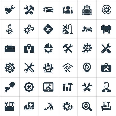 벡터 일러스트 레이 션 간단한 복구 아이콘의 집합입니다. 요소 전문가, Cogwheel, 수리공 및 기타 동의어 건설, 도구 및 스페이드.