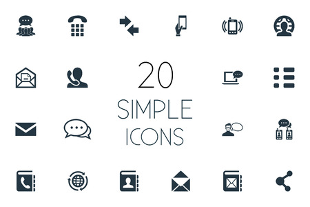 Vector Illustration Set Of Simple Connect Icons. Elements Helpline, Collective Opinion, Left Right Arrows And Other Synonyms Messaging, Ringing And Speaking.