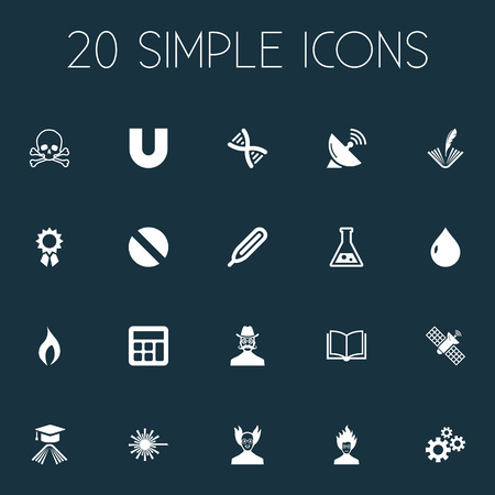 Vector Illustration Set Of Simple Science Icons. Elements Professor, Temperature Measurement, Dish Antenna And Other Synonyms Engendering, Counting And Measurement. Иллюстрация