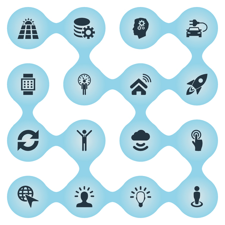 Vector Illustration Set Of Simple Innovation Icons. Elements Gear, House Automation, Member And Other Synonyms Panel, Selection And Deadline. Çizim