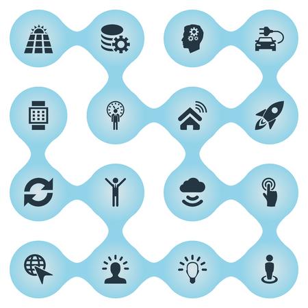 Vectorillustratiereeks Eenvoudige Innovatiepictogrammen. Elements Gear, House Automation, Member and Other Synoniemen Panel, Selection And Deadline. Stock Illustratie