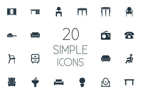 Vector Illustration Set Of Simple Furniture Icons. Elements Office Interior, Plant, Trestle And Other Synonyms Radio, Conference And Bedstead.