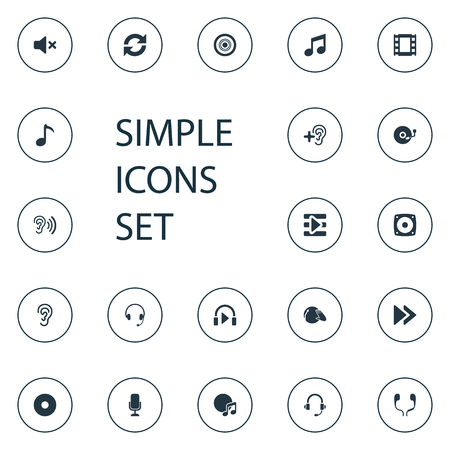 Vector Illustration Set Of Simple Play Icons. Elements Compact Disk, Microphone, Subwoofer And Other Synonyms Podcast, Sound And Movie.
