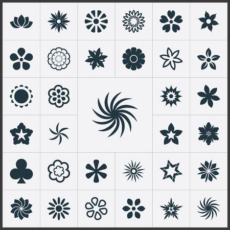 Vektor-Illustration Satz einfache Blumen-Ikonen. Elemente glückliches Blatt, Alstroemeria, Tulpe und andere Synonyme Safran, Lilie und Narzisse. Standard-Bild - 84985946
