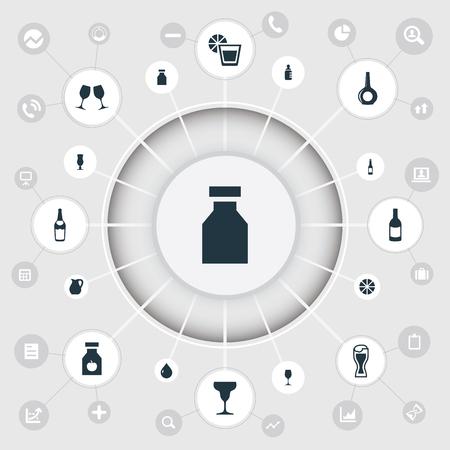 単なる飲み物アイコンのベクター イラスト セット。要素のレモネード、ライム、ワイングラス、類義語相手シャンパンと水。