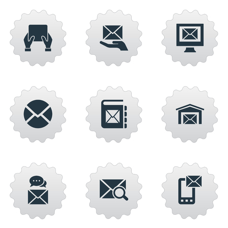 シンプルなメール アイコンのベクター イラスト セット。要素探して、メモ帳やお知らせ、他の同義語は、郵便封筒に注意してください。 写真素材 - 84985948