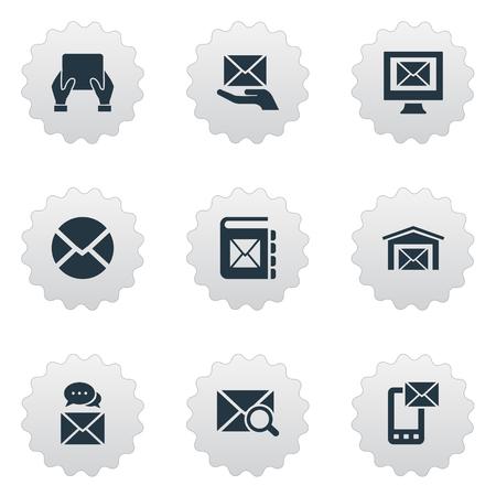 벡터 일러스트 레이 션 간단한 메일 아이콘의 집합입니다. 요소 찾기, 메모장, 공지 및 기타 동의어 우편, 봉투 및 통지.