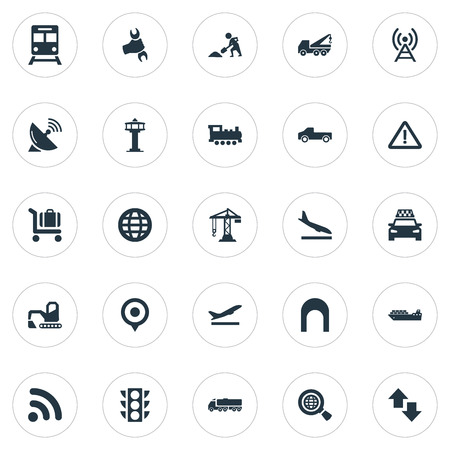 Vector Illustration Set Of Simple City Icons. Elements Oil Truck, International, Reconstruction And Other Synonyms Fuel, Research And Crane. Illustration