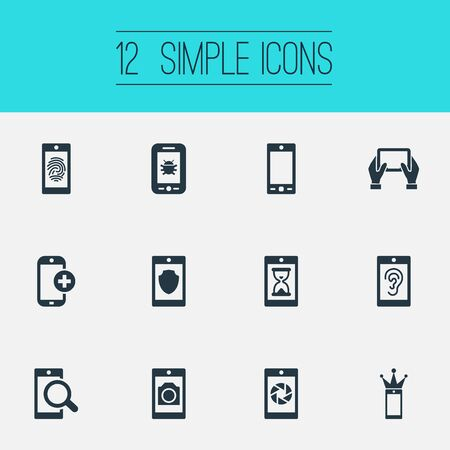 Vector Illustration Set Of Simple Telephone Icons. Elements Virus, Touch, Crown And Other Synonyms Technology, Shutter And Save.