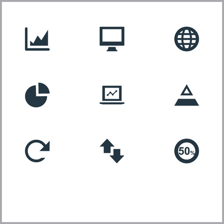 Vector Illustration Set Of Simple Analytics Icons. Elements Chart, Reverse, Triangle And Other Synonyms Monitor, Display And Refresh.