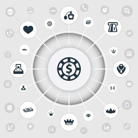 벡터 일러스트 레이 션 간단한 럭셔리 아이콘 집합입니다. 요소 울타리, 여왕, 빈티지 자동차 및 다른 동의어 울타리, 칩 및 영혼입니다.