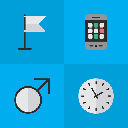 Vector Illustration Set Of Simple Menu Icons. Elements Time, Banner, Mars Sign And Other Synonyms Watch, Pointer And Man.