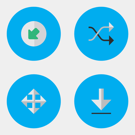 Vector Illustration Set Of Simple Cursor Icons. Elements Northwestward, Widen, Loading And Other Synonyms Loading, Download And Arrow.