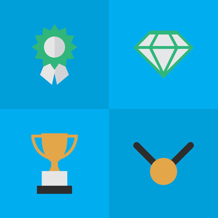 Vector Illustration Set Of Simple Reward Icons. Elements Gemstone, Reward, Medal And Other Synonyms Trophy, Gold And Precious.