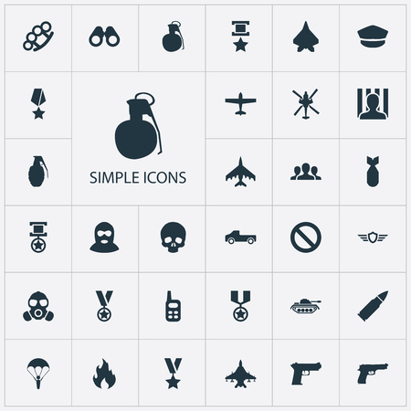 Vector Illustration Set Of Simple Battle Icons. Elements Flame, Arm Brass, Trophy And Other Synonyms Punch, Respirator And Bomber.