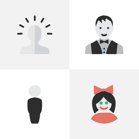 Vector Illustration Set Of Simple Person Icons. Elements Male, Girl, Person And Other Synonyms Boy, Woman And Man.