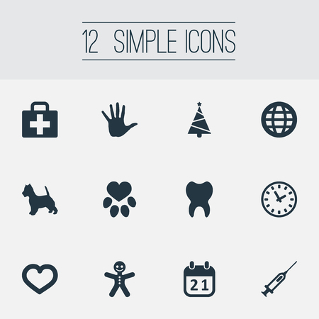Vector Illustration Set Of Simple Brood Icons. Elements Footprint, Dental, Case And Other Synonyms Palm, Holiday And Case.