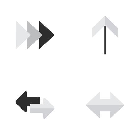 벡터 일러스트 레이 션 간단한 표시기 아이콘의 집합입니다. 요소들 가져 오기, 앞으로, 위로 그리고 다른 동의어들, 항상 그리고 앞으로. 일러스트