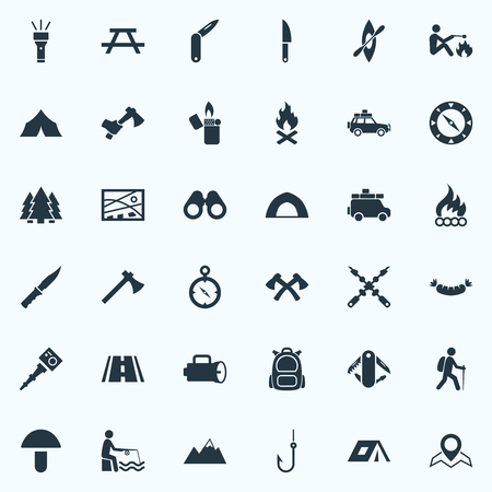 short trip: Vector Illustration Set Of Simple  Icons. Elements Fishing, Flame, Location And Other Synonyms Grilled, Compass And Hook.