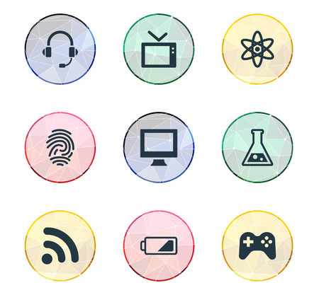 Vector Illustration Set Of Simple Hitech Icons. Elements Wireless Connection, Headphones, Charge And Other Synonyms Computer, Monitor And Charge.